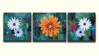 Daisies | Acrylic on Canvas  Artwork Process