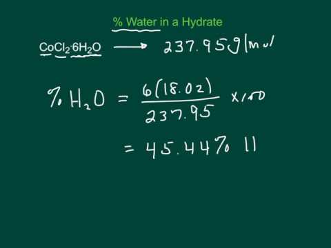 Percent Water In A Hydrate