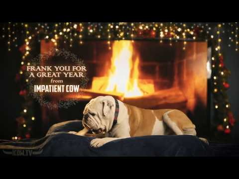 Snoozing Yule Log Bulldog Full HD Fireplace With Crackling Sounds