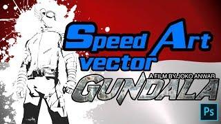 "SPEED ART VECTOR ""GUNDALA"" (part 1) line art"
