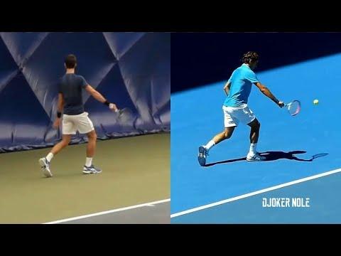 Novak Djokovic IMITATES Roger Federer • One Handed Backhand • 2019 (HD)