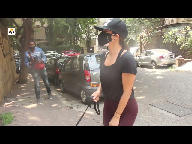 Exclusive Sophie Chaudhary Snapped With Her Pet Dog In Bandra