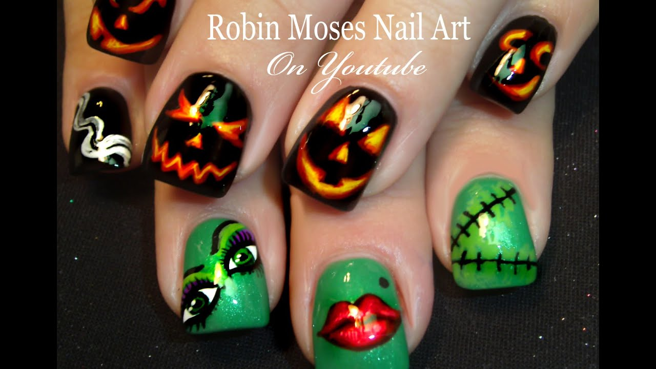 Diy Halloween Nails Pumpkins And Frankensteins Bride Art Design