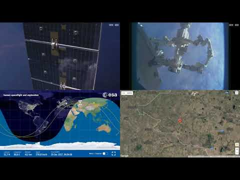 Station reflecting In CRS-13 Solar Panel - ISS Space Station Earth View LIVE NASA/ESA 6