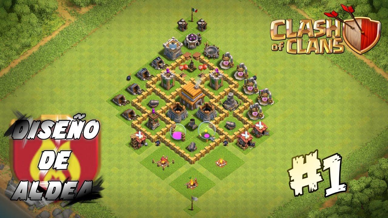 clash of clans dise o de aldea 1 defensa ayuntamiento 5