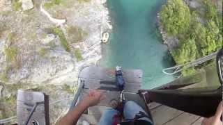 GoPro headcam bungy jump from Kawarau Bridge, Queenstown New Zealand