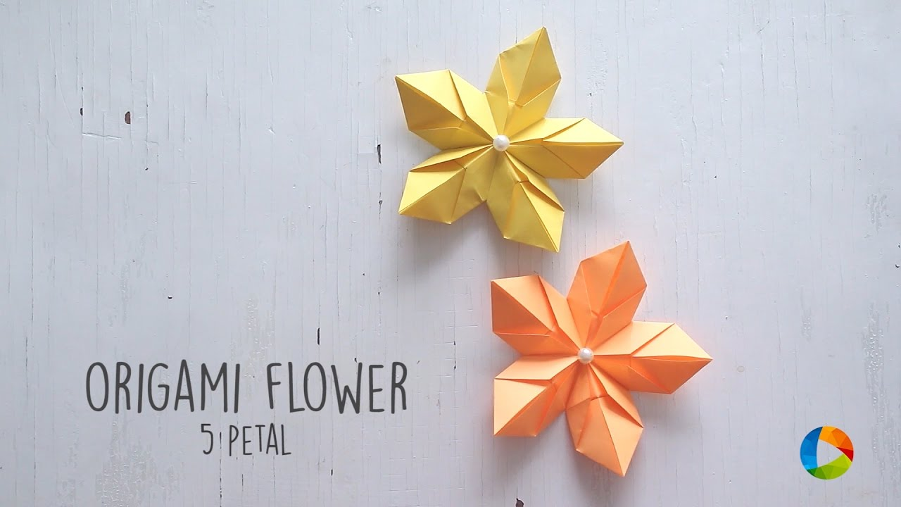 5 Petal Origami Flower Youtube