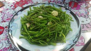 Rau Muống xào tỏi qúa ngon ,rau xanh ,dòn , trên vườn rau sân thượng
