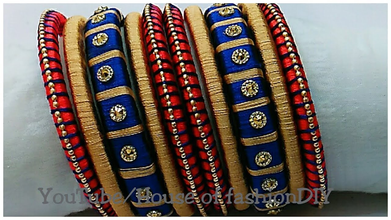 0c6c348cbc1d9 How To Make Blue And Red Colour Silk Thread Bangles..!