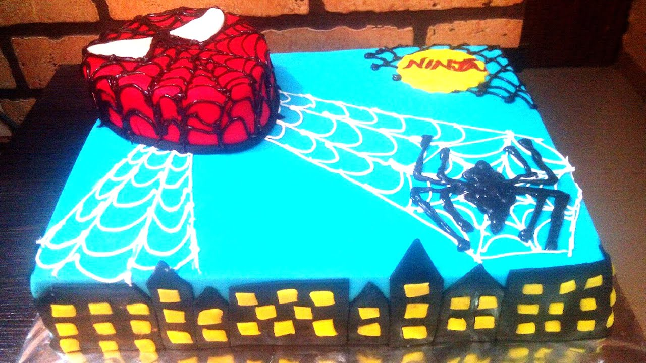 SpiderMan Cake Design How To Tutorial Fondant Birthday Cake For