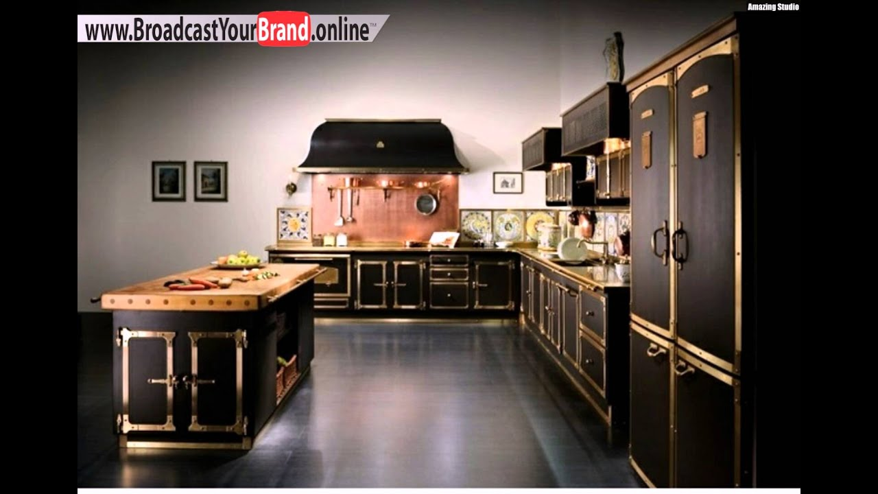 schwarze k che landhaus look dunkler boden youtube. Black Bedroom Furniture Sets. Home Design Ideas