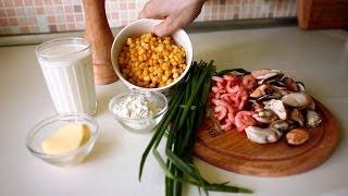 Кукурузный суп с креветками