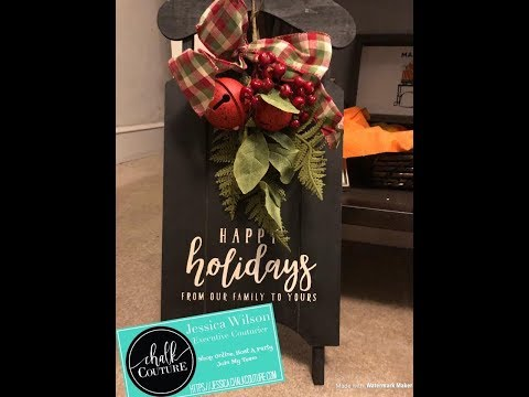 Chalk Couture Christmas Cheer on Wooden Sled #Chalkboardart #DIY