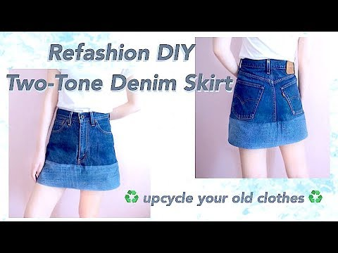 CLOTHING HACK / Refashion DIY Old Jeans to Two Tone Denim ...