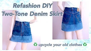 CLOTHING HACK / Refashion DIY Old Jeans to Two Tone Denim Skirt // デニム👖ジーンズ リメイクㅣmadebyaya