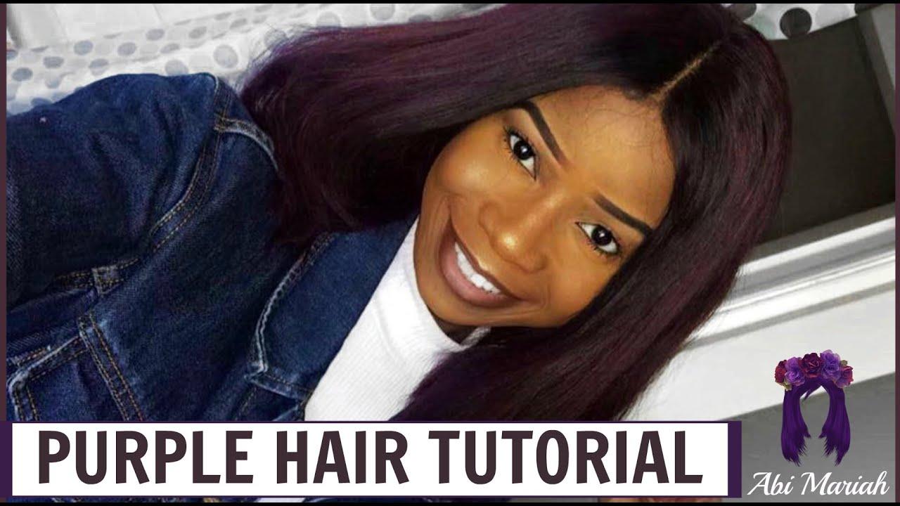 Diy Purple Hair Relax Bleach And Dye Old Weave Detailed Tutorial