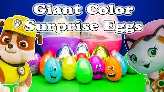 SURPRISE EGGS Giant Color Surprise Eggs a Paw Patrol Sherrif Callie Surprise Egg Video