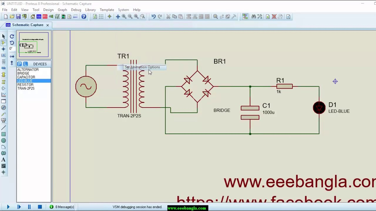 hight resolution of simulate full wave bridge rectifier with proteus