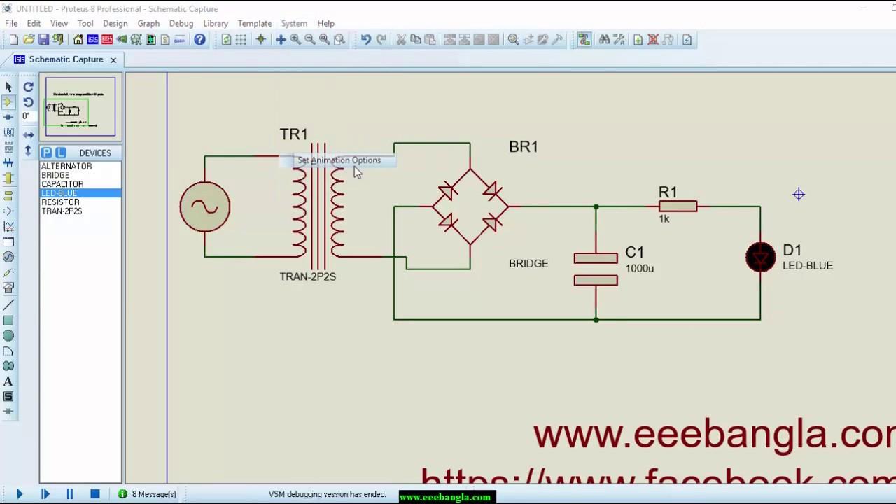simulate full wave bridge rectifier with proteus [ 1280 x 720 Pixel ]