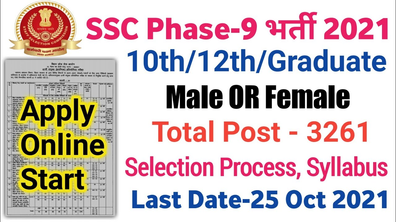 Download SSC Selection Post Phase IX Online Form 2021   Male or Female All Indian Job 10th Pass SSC Job 2021