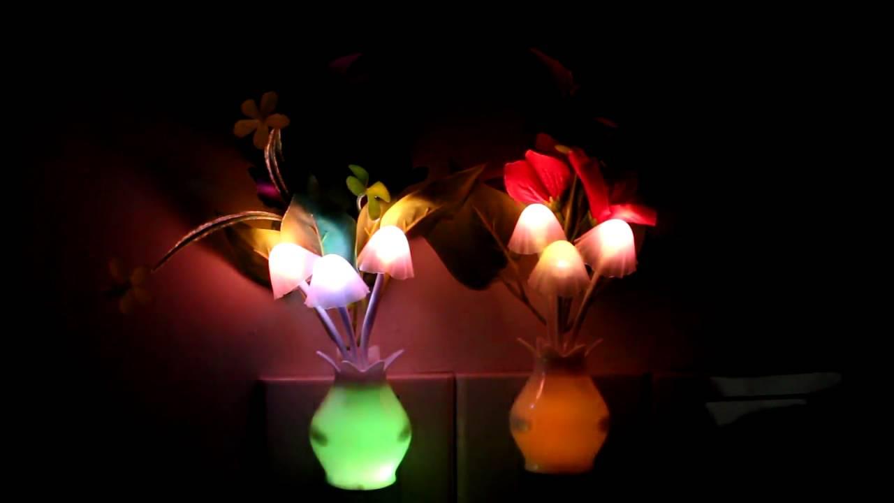 2PCS Kids Night light Color Changing Flower Plug In LED Mushroom ...