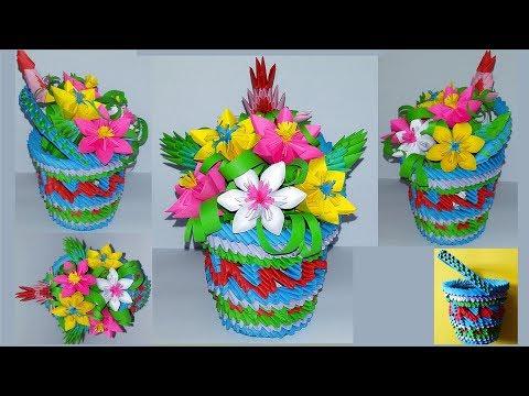 3D Origami Flower Basket   3d origami, Origami, Origami flowers   360x480