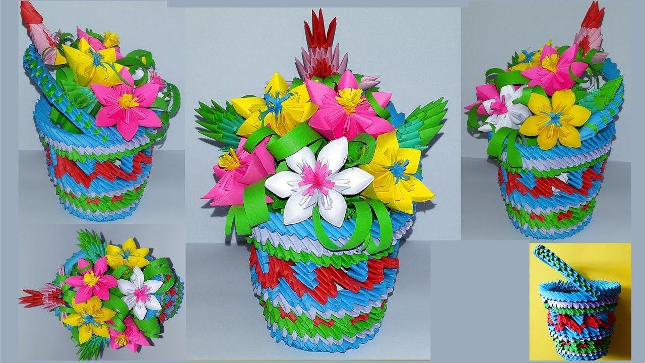 3d Origami Flowers Baskettutorial Youtube
