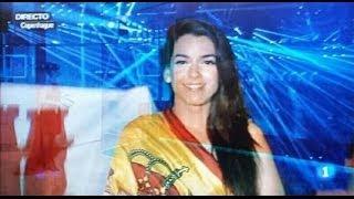Gibraltar Flag Behind Spain Eurovision Singer Ruth Lorenzo