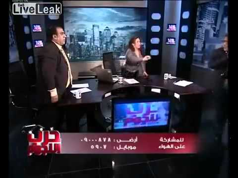 Live TV discussion turns into chair throwing battle - Egypt