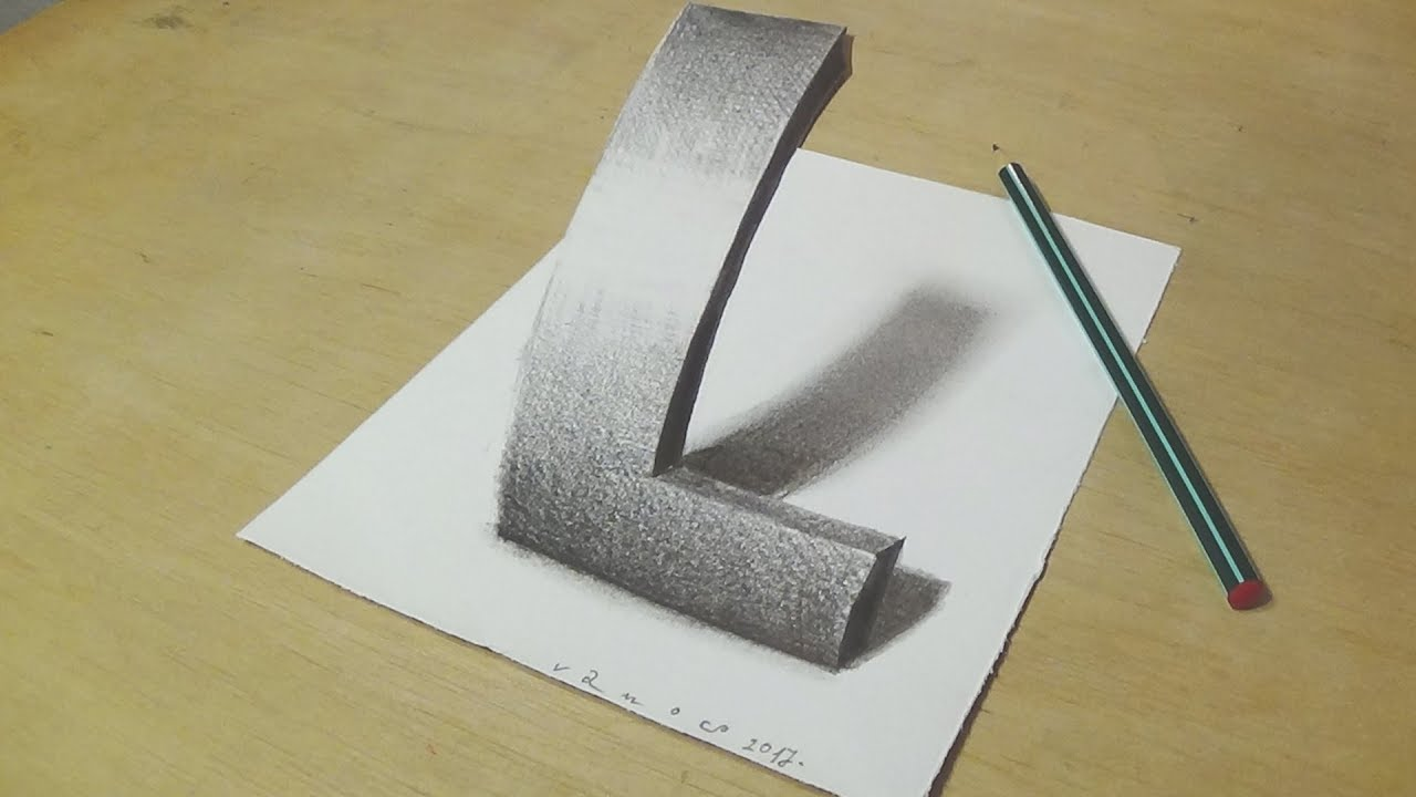 How to Draw Letter L - Drawing 3D Letter L with Pencil - Very Easy for Kids & Adults - VamosART