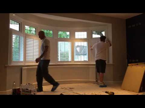 Installing cafe style plantation shutters to a bay window youtube.