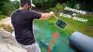 CLEAR CREEK HOMEMADE vs STORE BOUGHT FISH TRAP!