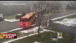 School Bus Slides Down Icy Hill, Crashes Into Car