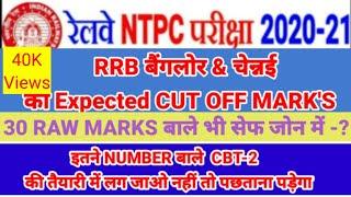 RRB Bangalore NTPC cut off marks 2021/RRB Chennai NTPC cut off marks 2021/RRB Ntpc cut off marks