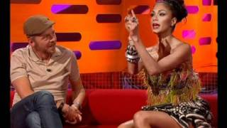 Nicole Scherzinger with Tom Hanks on British TV