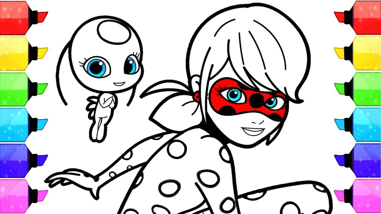 Miraculous Ladybug Coloring Pages | How To Draw And Color Ladybug And Cat  Noir Coloring Book