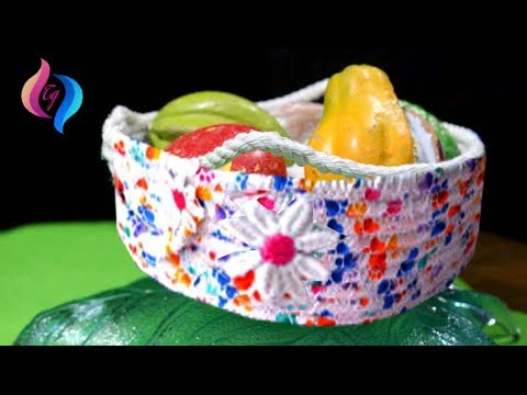 DIY - How to make yarn basket - How to make a basket out of yarn and rope