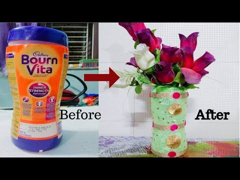 DIY | Reuse idea of Bournvita bottle | Best out of waste bottle craft ideas | Flower vase