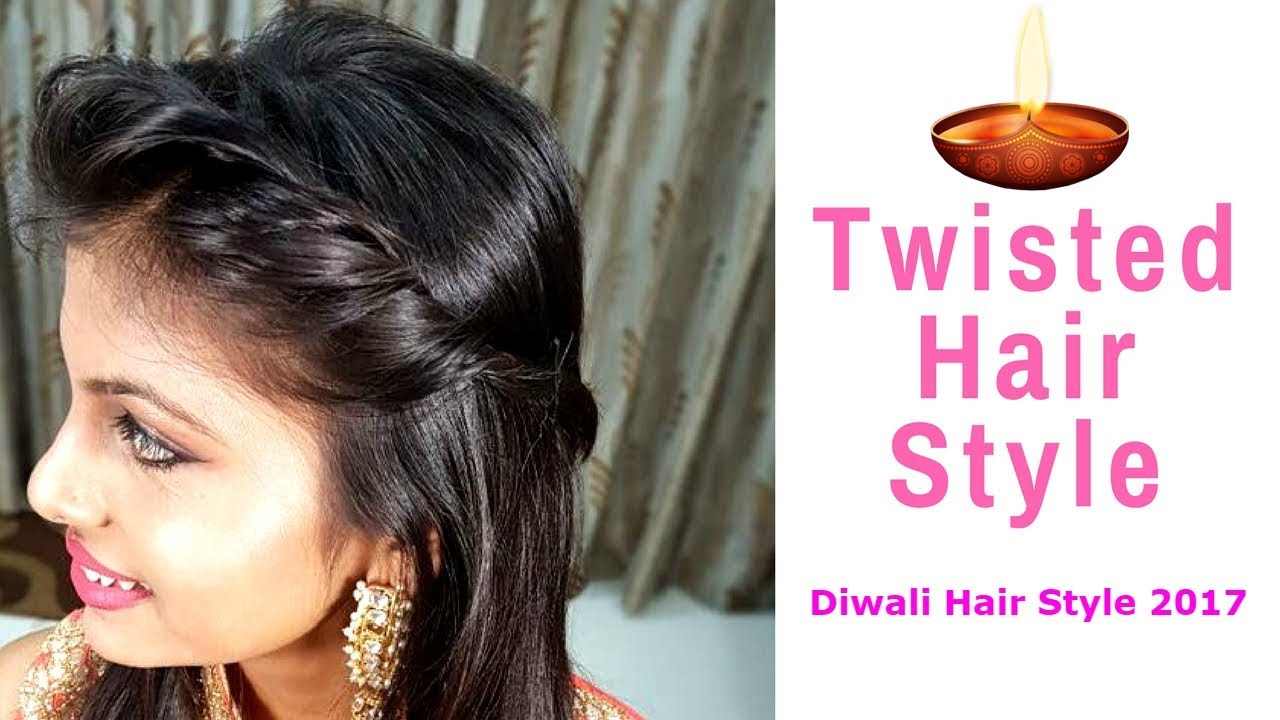 front side twist hairstyle | diwali hair style | diwali makeup and  hairstyle | #diwali2017