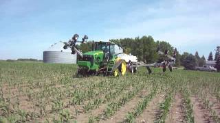 Zoske's 60' Side-Dress Toolbar Unfolding Behind John Deere 8430T