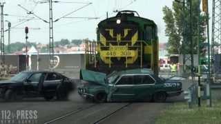 Vonatbaleset szimuláció Sopronban - Train crash simulation