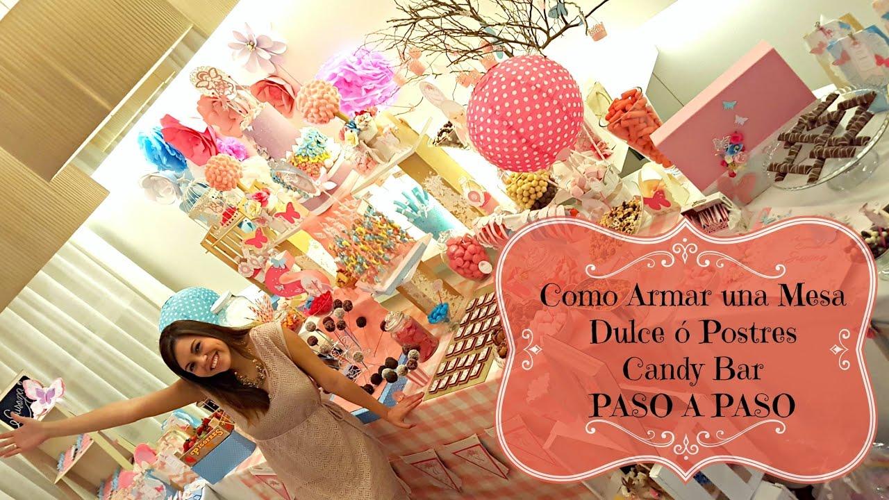 Como armar una mesa de postres o dulces candy bar youtube - Postres para mesa de dulces ...