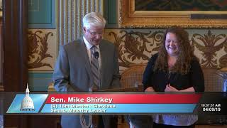 Sen. Shirkey recognizes Danielle McCann for her service to the Michigan Senate