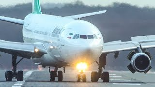 "AIRBUS A340 LANDING - ""We REVERSE on the Taxiway""! (4K)"
