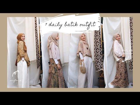 7 batik outfit untuk sehari-hari // simple batik hijab lookbook #ootd - YouTube
