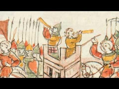 Medieval manuscript illustrations of blowing horns (Radziwiłł Chronicle | Radvilų metraštis)