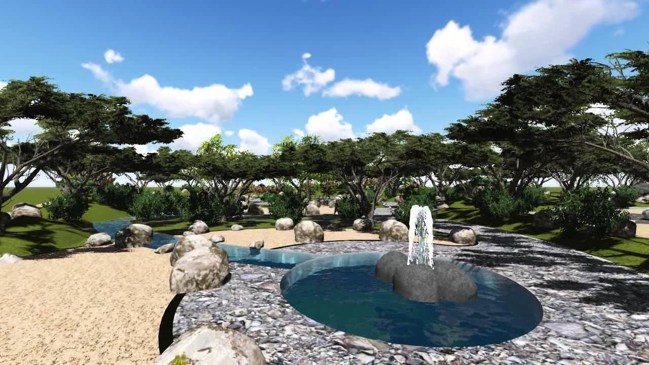 Render parque paisajismo youtube for Parques con jardines