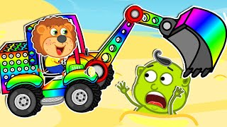 Lion Family 🚜 Playing with a Tractor on the Beach | Cartoon for Kids
