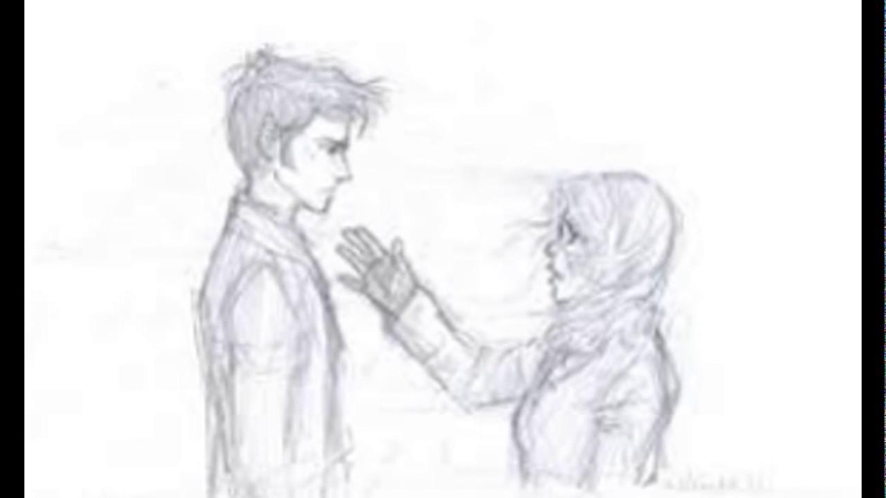 Sketsa manusia berdua romantis