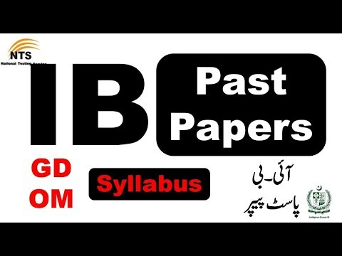 NTS IB Past Paper | I B Papers | IB GD Past Papers || IB OM Past Papers ||  NTS Past Papers | Part 2